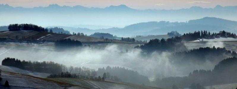 Blick vom bayrischen Wald in die österreichischen Alpen
